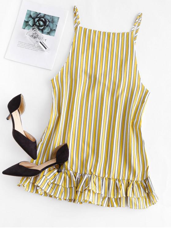fancy Striped Open Back Flippy Hem Dress - YELLOW M