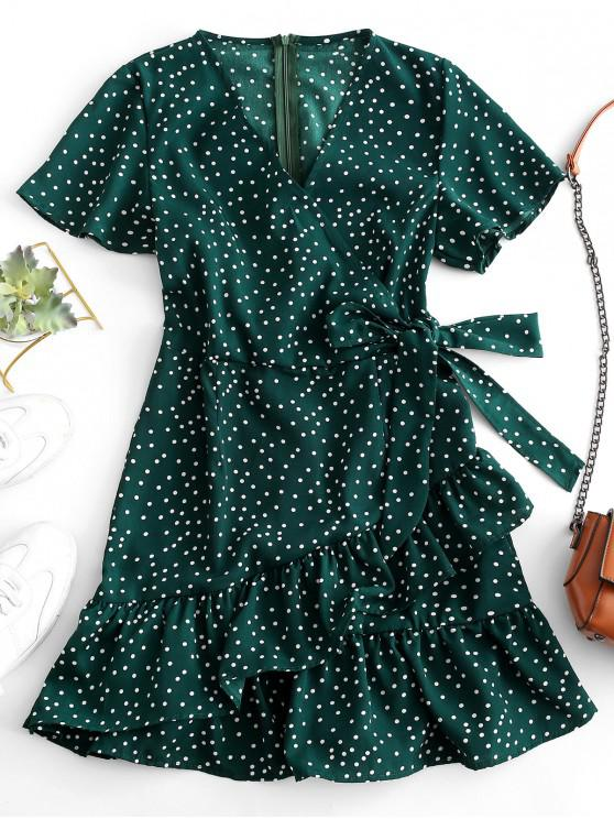 hot Dotted Tie Waist Ruffles Mini Dress - DEEP GREEN S
