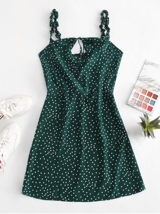 hot Ruffled Straps Dotted Tie Collar Mini Dress - DEEP GREEN S