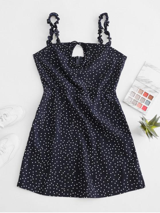 fancy Ruffled Straps Dotted Tie Collar Mini Dress - CADETBLUE S