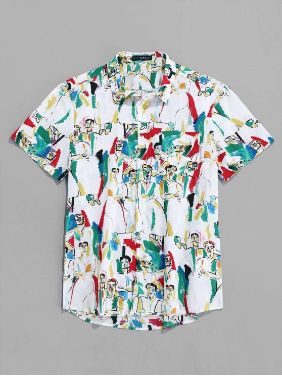 ZAFUL الأحرف طباعة قميص بأكمام قصيرة - متعدد 2XL