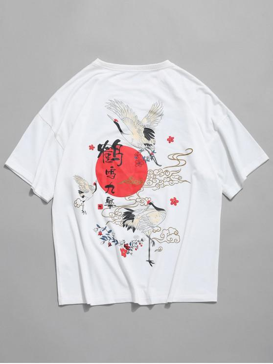 fancy Floral Oriental Flying Crane Letter Short Sleeve T-shirt - WHITE 2XL