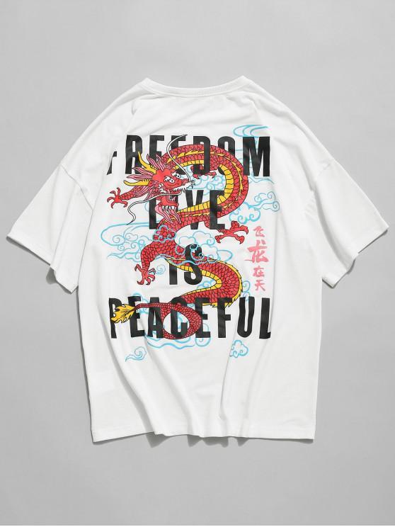 Camisetade Hombro CaídoconEstampadode Dragón de Letras - Blanco M