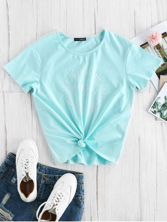 fancy ZAFUL Take Me To The Mountains Graphic Tee - LIGHT SLATE S