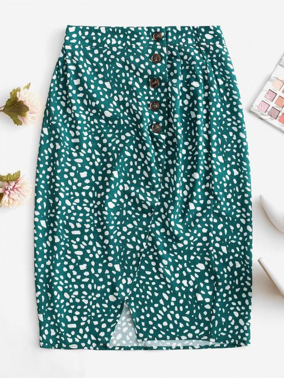 hot Button Up Dalmatian Dots Asymmetrical Skirt - DEEP GREEN S