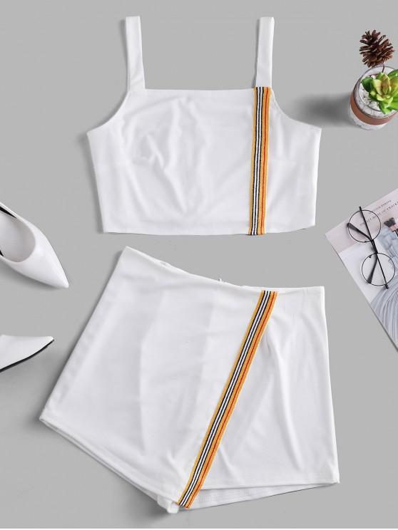 buy Striped Tape Back Zipper Overlap Shorts Set - WHITE XL