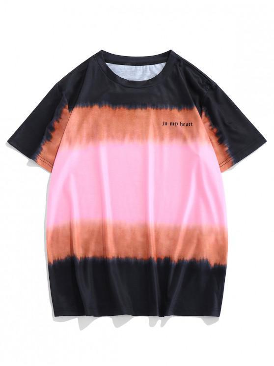 trendy ZAFUL Tie Dye In My Heart Letter Print Short Sleeve T-shirt - MULTI-B 2XL
