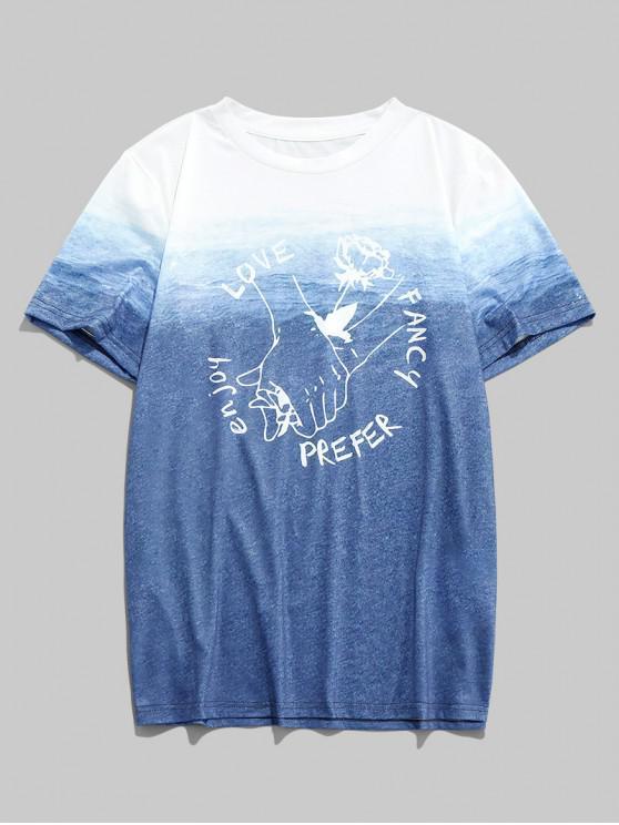ZAFUL Lagen Hand Buchstabe Ombre Valentinstag T-Shirt - Multi 2XL