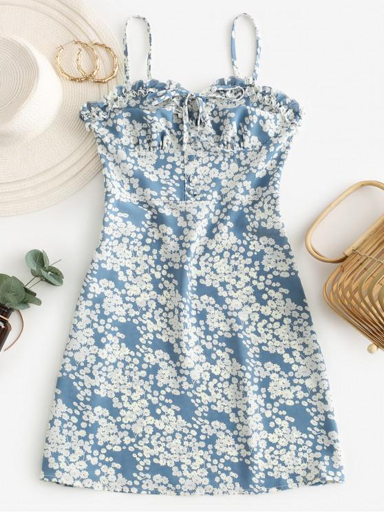 Ditsy Floral Smocked Frilled Cami Summer Dress - ازرق فاتح L