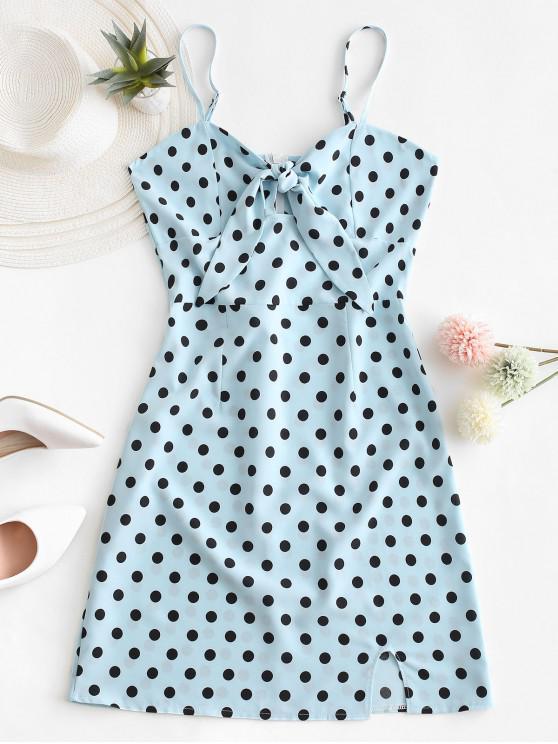 online Polka Dot Knotted Slit Cami Summer Dress - BLUE S