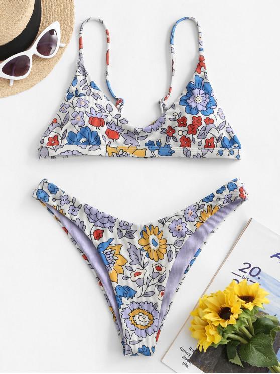 Costume da Bagno Bikini Floreale a Costine di ZAFUL a Taglio Alto - Multi Colori-A S