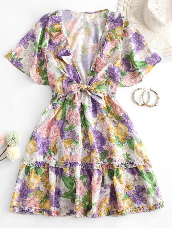 hot Tie Front Floral Ruffles Mini Dress - MULTI-A S