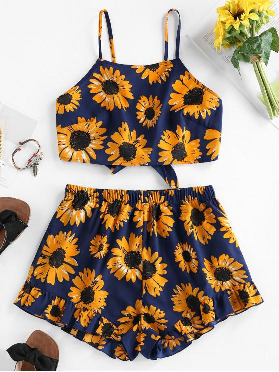 chic ZAFUL Sunflower Knotted Ruffle Two Piece Set - NAVY BLUE XL