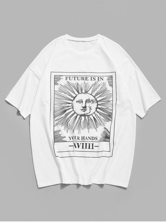 Cartoon Sun Letter Graphic Short Sleeve T-shirt - أبيض 2XL