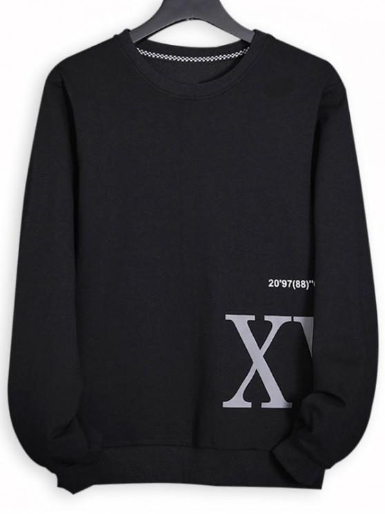 new Letter Print Ribbing-knit Trim Sweatshirt - BLACK XS