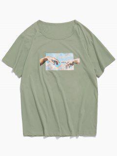 Helping Hands Print Short Sleeves T-shirt - Jungle Green M