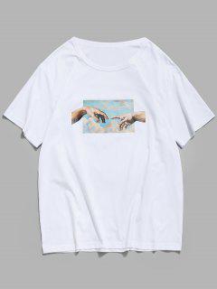 Hände Mustermit Kurzen Ärmeln T-Shirt - Weiß L