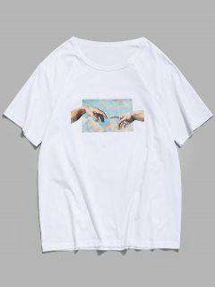 Helping Hands Print Short Sleeves T-shirt - White M