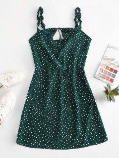 Ruffled Straps Dotted Tie Collar Mini Dress - Deep Green S