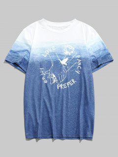 ZAFUL T-shirt Ombré Lettre Rose à La Main Saint-Valentin - Multi 2xl