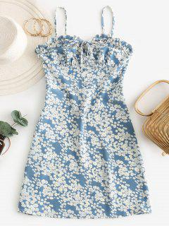 Ditsy Floral Smocked Frilled Cami Summer Dress - Baby Blue L
