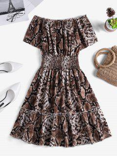 Snakeskin Smock Waist Off Shoulder Mini Dress - Multi-a S