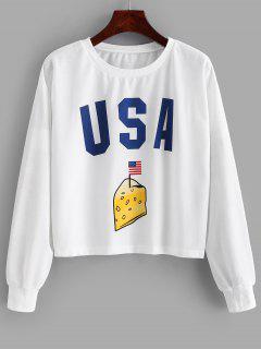 Patriotic American Flag Drop Shoulder Sweatshirt - White S