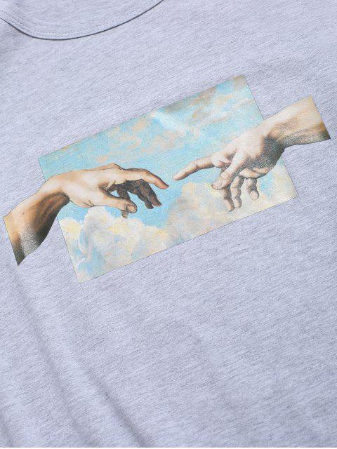 trendy Helping Hands Print Short Sleeves T-shirt - LIGHT GRAY M Mobile