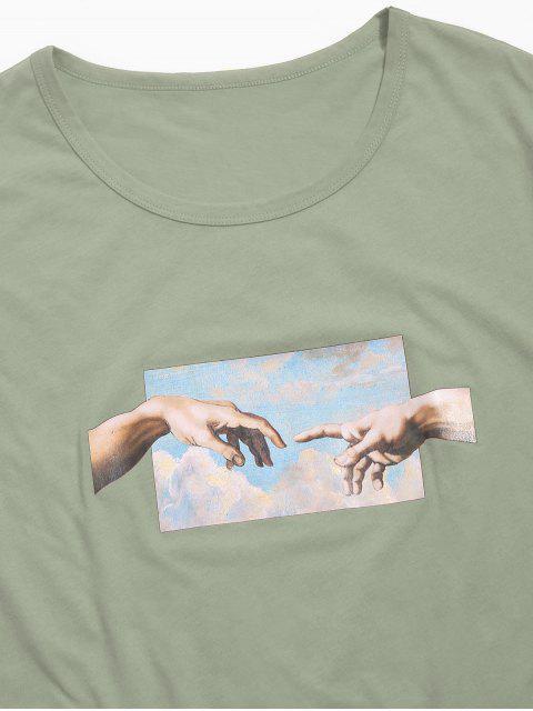 手相牽打印短袖T卹 - 叢林綠色 L Mobile