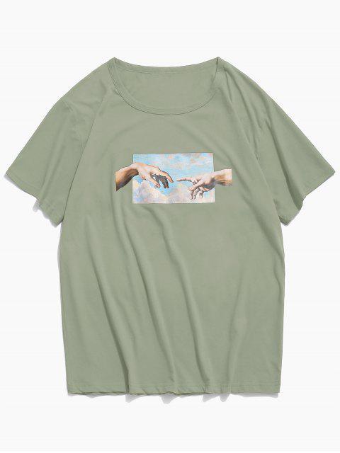 手相牽打印短袖T卹 - 叢林綠色 M Mobile