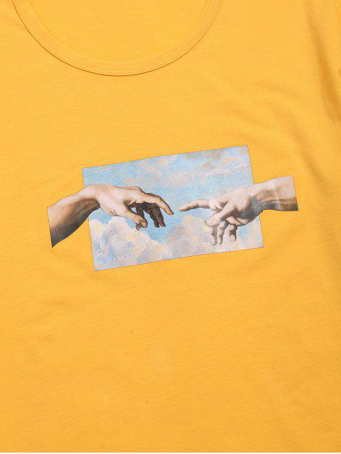 shop Helping Hands Print Short Sleeves T-shirt - YELLOW S Mobile