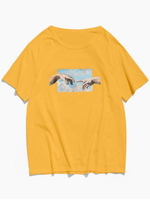 手相牽打印短袖T卹 - 黃色 XS Mobile