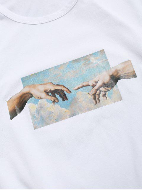 手相牽打印短袖T卹 - 白色 L Mobile
