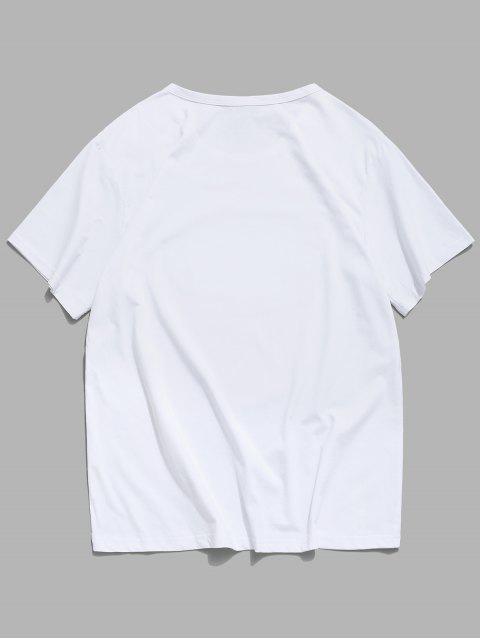 手相牽打印短袖T卹 - 白色 M Mobile