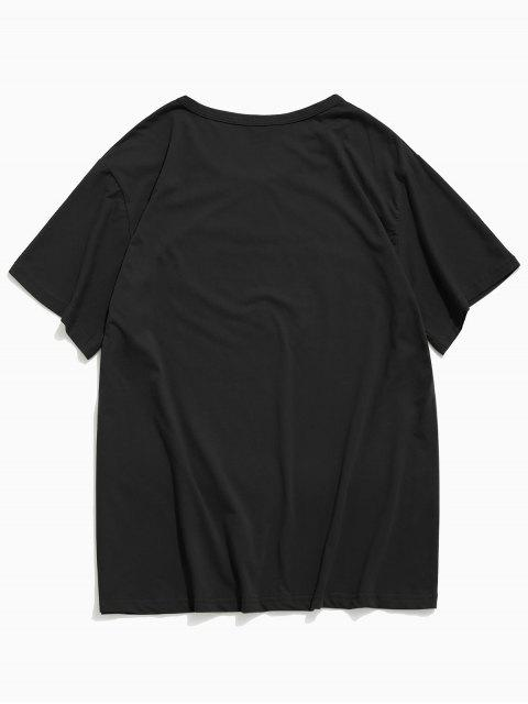 T-shirt de Mangas Curtas Padrão de Helping Hands - Preto L Mobile