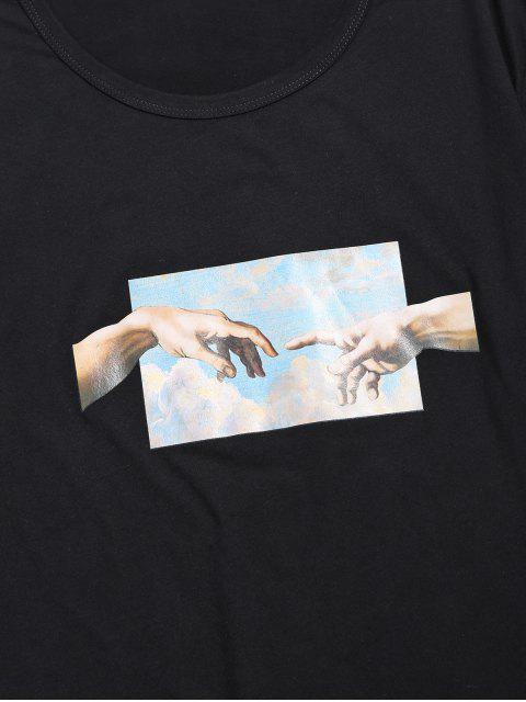 trendy Helping Hands Print Short Sleeves T-shirt - BLACK M Mobile