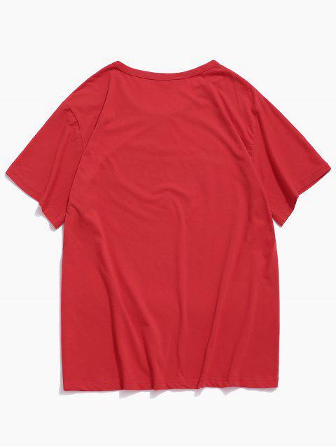 T-shirt Main Imprimée à Manches Longues - Rouge S Mobile