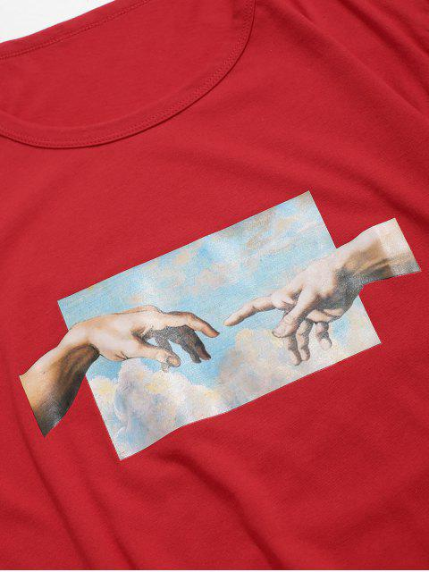 手相牽打印短袖T卹 - 紅 XS Mobile