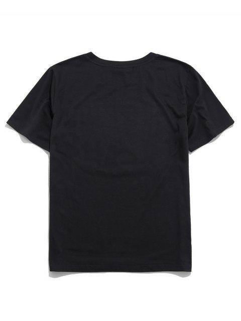 buy ZAFUL Flower Letter Print Short Sleeves T-shirt - BLACK S Mobile