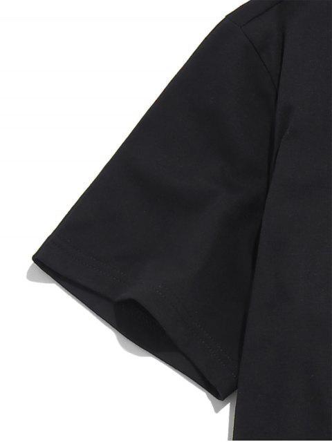 ZAFUL花信打印短袖T卹 - 黑色 XL Mobile