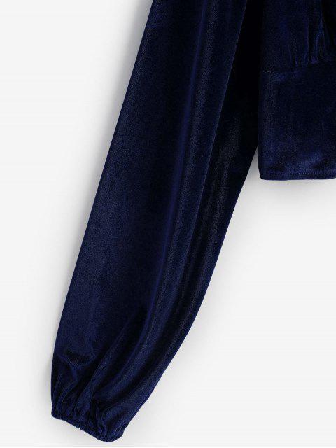 womens Velvet Loop Button Plunge Crop Top - DARK SLATE BLUE S Mobile