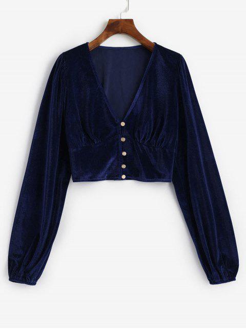 women Velvet Loop Button Plunge Crop Top - DARK SLATE BLUE L Mobile