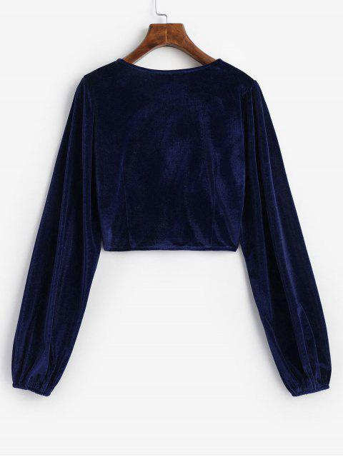 hot Velvet Loop Button Plunge Crop Top - DARK SLATE BLUE M Mobile