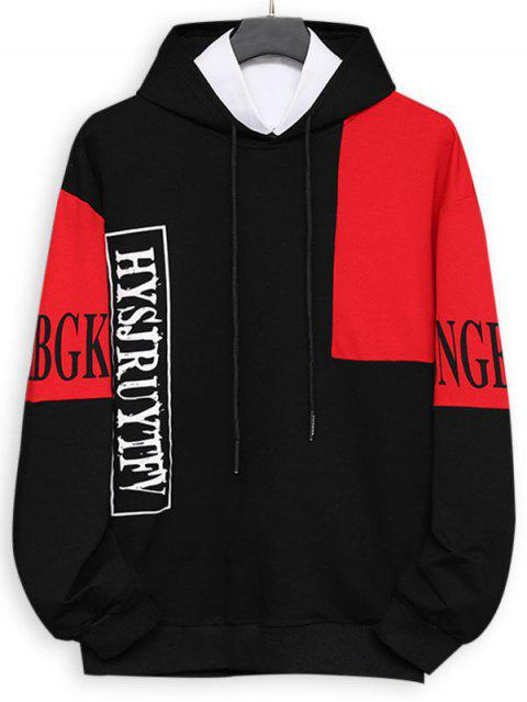 hot Colorblock Panel Letter Print Pouch Pocket Hoodie - BLACK XS Mobile