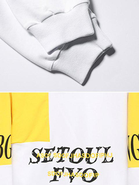 shop Colorblock Panel Letter Print Pouch Pocket Hoodie - WHITE XS Mobile
