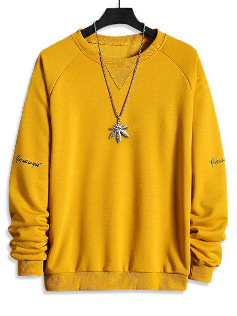 womens Letter Print Raglan Sleeve Crew Neck Sweatshirt - SUN YELLOW XS Mobile