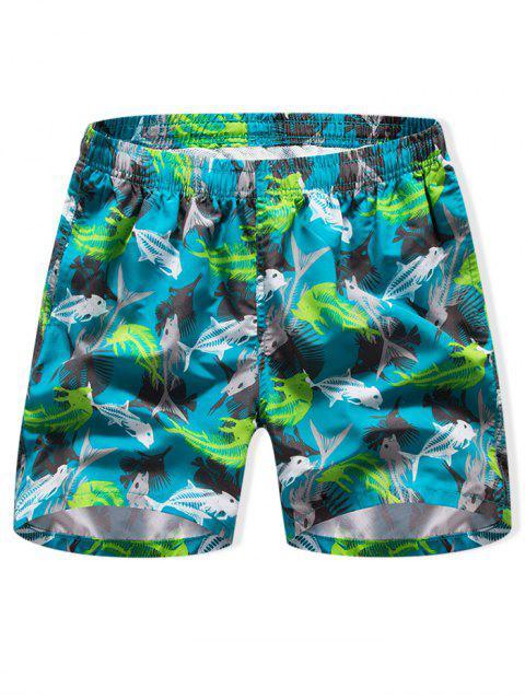 outfit Fishbone Print Drawstring Board Shorts - MEDIUM TURQUOISE 3XL Mobile