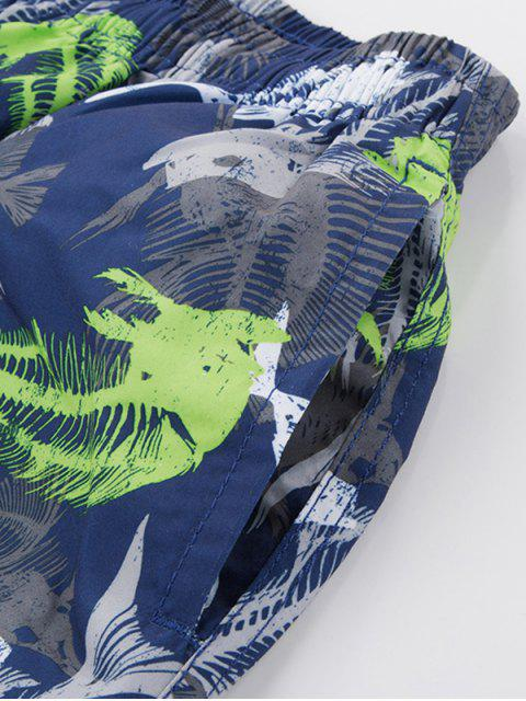 sale Fishbone Print Drawstring Board Shorts - NAVY BLUE 3XL Mobile