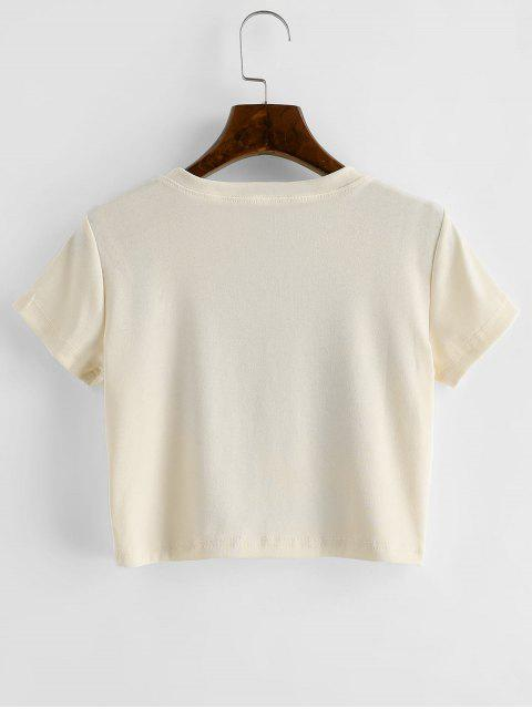 文字を印刷半袖クロップTシャツ - アプリコット M Mobile