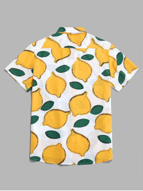 ZAFUL الليمون نمط قصيرة الأكمام قميص - أبيض 2XL Mobile